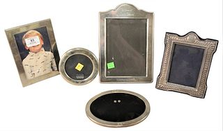"""Five Sterling Silver Frames, to include two Tiffany & Company, largest 9 1/2"""" x 6 1/2""""."""