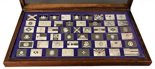 Franklin Mint Collection of Sterling State Flag Plaques, in fitted case, 106.28 t.oz.