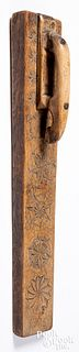 Scandinavian carved oak mangle board dated 1785