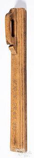 Scandinavian carved mangle board dated 1785