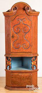 Small Scandinavian painted pine corner cupboard