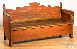 Scandinavian painted bench with pullout bed