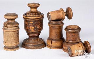 Four Scandinavian turned wood herb grinders