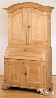 Scandinavian pine two-part secretary desk, 19th c.