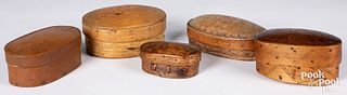 Five Scandinavian decorated band boxes, 19th c.