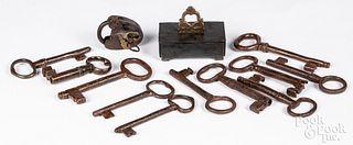 Eleven large iron lock keys, 19th c.