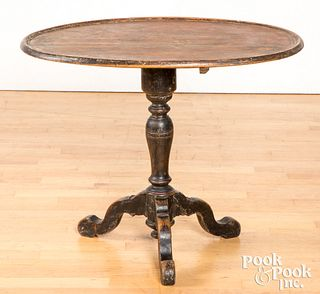 Painted pine tilt top candlestand, 19th c.
