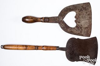 Large wrought iron food chopper, dated 1753