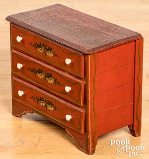 Miniature painted cottage dresser, late 19th c.