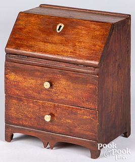 Birch and red pine miniature slant front desk