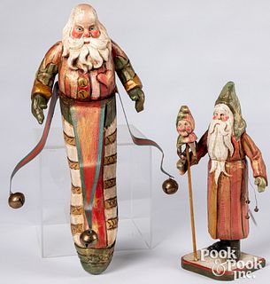 Two Denise Calla carved and painted Santa Claus