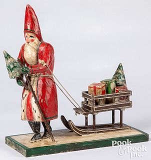 Pam Schifferl carved & painted Santa & sleigh