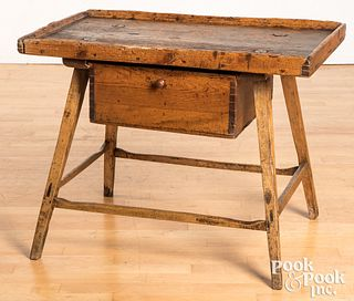 """Primitive pine tray top table, 19th c., 22 1/2"""" h."""