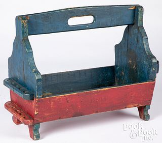 Painted pine tool carrier, ca. 1900