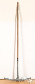 "Primitive painted rake, 19th c., 64"" l."