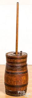 """Staved oak butter churn, 19th c., 52"""" h."""