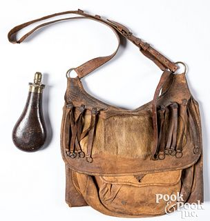 Leather hunting bag, 19th c.