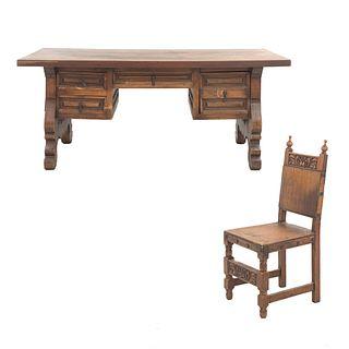 Escritorio y silla. México, SXX. Elaborado en madera. Escritorio con cubierta rectangular, 3 cajones y soportes semicurvos.
