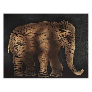 FRANCISCO TOLEDO. Elefante. Firmado en la parte posterior. Esténcil y troquel sobre papel hecho a mano. 41 x 52 cm.