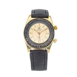 Reloj Tissot Sonorous RP516. Movimiento manual. Caja circular en acero dorado de 35 mm. Carátula color amarillo con índices de barras.