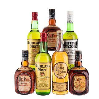 Whisky. a) Long John. b) William Lawson's. c) Grand Old Parr. d) Highland Mist. Total de piezas: 7.