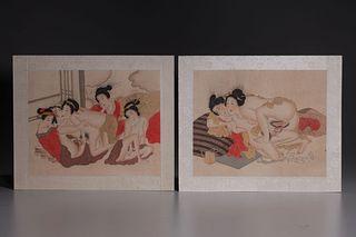 Two Japanese Shunga Woodblock prints