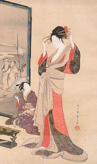 Antique Japanese Woodblock Print By Chobunsai Eishi