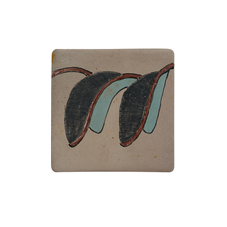 Hand painted tile of dark grey and turquoise. 130 pieces. They can be purchased in groups of ten.