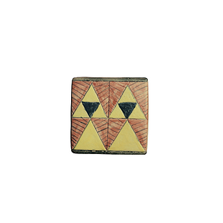 Exclusive Geometric designs of yellow, burnt orange and black . 199 pieces. They can be purchased in groups of ten.