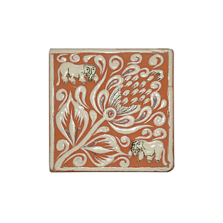 Elegant lion and flowers hand painted tiles.  260 pieces. They can be purchased in groups of ten.