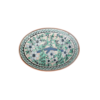 Two painted peacocks plate