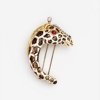 David Webb Giraffe Diamond Brooch Ruby Enamel 18k Plat