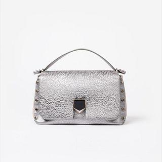 Jimmy Choo Med. Lockett Metallic Grainy Leather Handbag