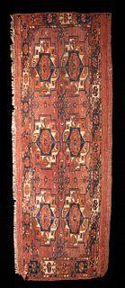 Early 19th C. Turkoman Tekke 6-Gul Torba Rug
