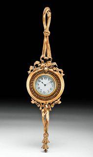 1920s French Gilt Wood Wall Clock - Duverdrey & Bloquel