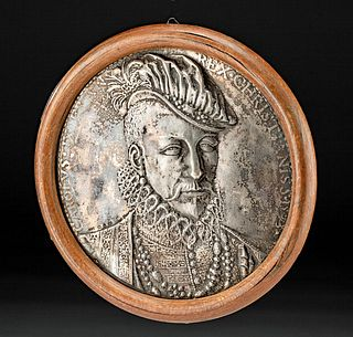 19th C. English Silver Repousse of King Charles IX