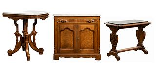 Eastlake Style Walnut with Marble Top Table and Commode Assortment