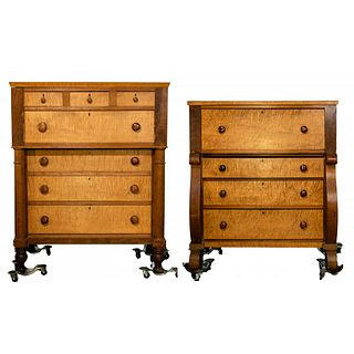 Empire Style Tiger Maple Dressers