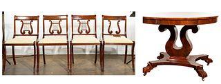 Mahogany Harp Table and Chairs