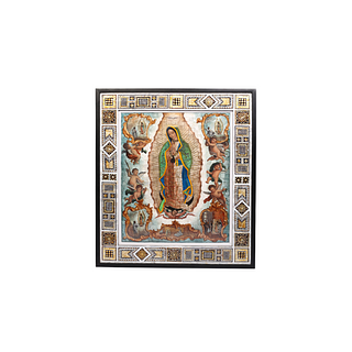 Outstanding Virgin of Guadalupe with angels and religious scenes made with feathers