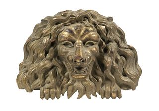 18TH C. GILT CARVED LION HEAD PLAQUE, PROBABLY ENGLISH