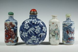 (4) CHINESE PORCELAIN SNUFF BOTTLES
