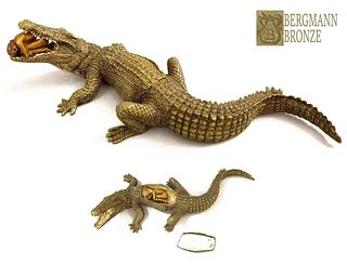 Beauty & Crocodile, F. Bergman Signed Bronze Figurine