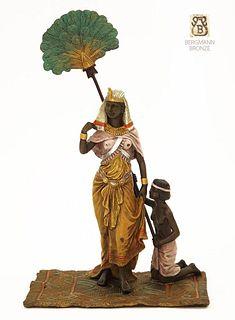 Pharaoh & Her Slave, Bergman Bronze Figurine Group