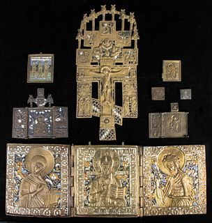 (5) EARLY GREEK ORTHODOX ICONS AND (3) RUSSIAN BRONZE ICONS