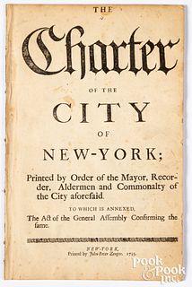 The Montgomerie Charter, NY, Zenger, 1735