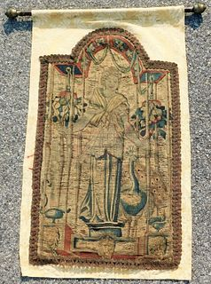 19C Juno and Peacock Embroidered Tapestry
