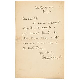 Frederic Remington Declines a Request for a Charitable Donation
