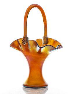 Steuben Aurene Iridescent Glass Basket Vase