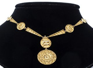 18K Yellow Gold Tribal Disc Necklace